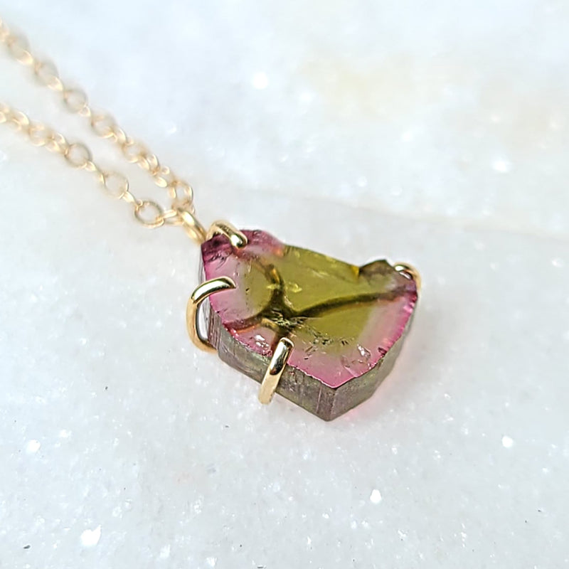 Sincerely Ginger Jewelry Tourmaline Slice Necklace in 14-Karat Gold