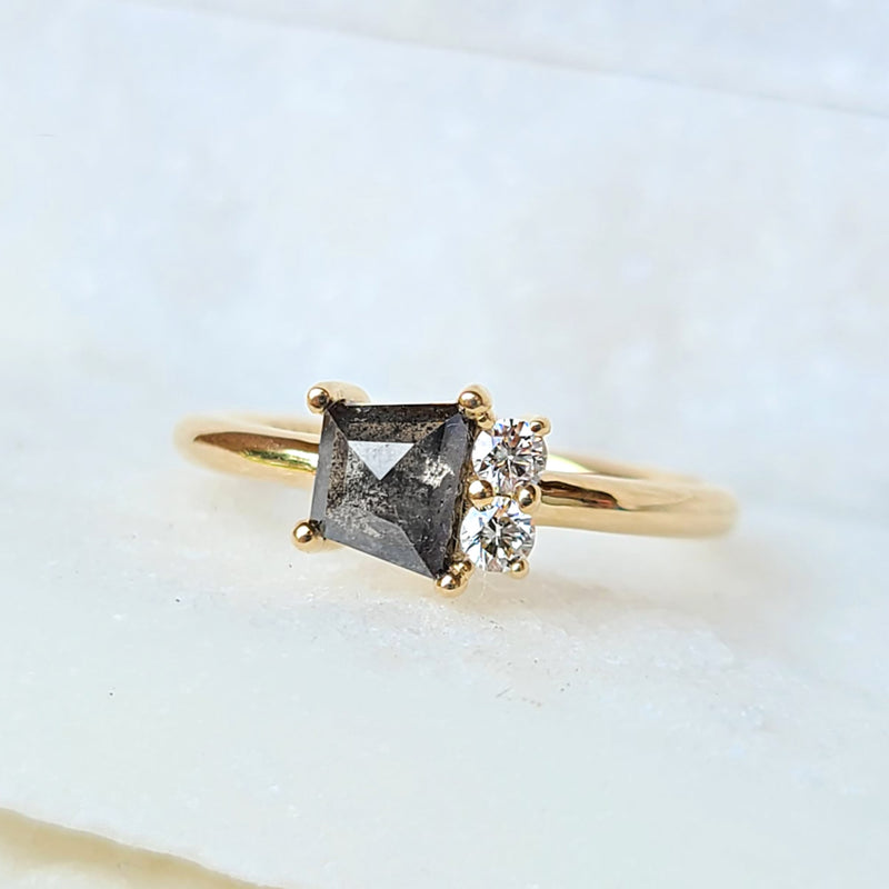 Trapezoid Salt and Pepper and White Diamond Engagement Ring 14-Karat Yellow Gold