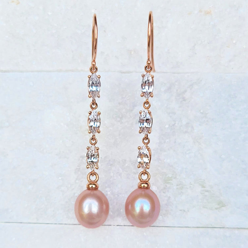 Sincerely Ginger Jewelry White Sapphire Pearl Drop Earrings in 14-Karat Rose Gold