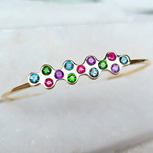 Sincerely Ginger Jewelry Chrome Diopside, Ruby, Amethyst, and Blue Topaz Bubble Cuff in 14-Karat Yellow Gold