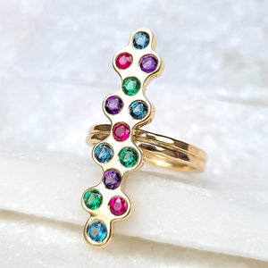 Sincerely Ginger Jewelry Chrome Diopside, Ruby, Amethyst, and Blue Topaz Bubble Ring in 14-Karat Yellow Gold