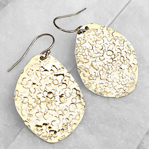 Sincerely Ginger Jewelry 14-Karat Yellow Gold Hammered Pebble Earrings
