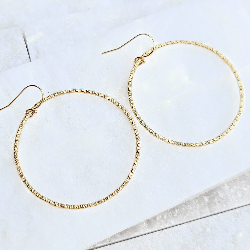 Sincerely Ginger Jewelry Textured Hoop Earrings in 14-Karat Yellow Gold