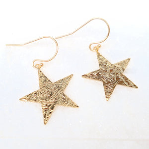 Sincerely Ginger Jewelry Textured Star Earrings in 14-Karat Yellow Gold