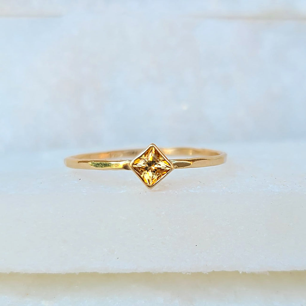 Sincerely Ginger Jewelry Yellow Topaz 14-Karat Yellow Gold Ring