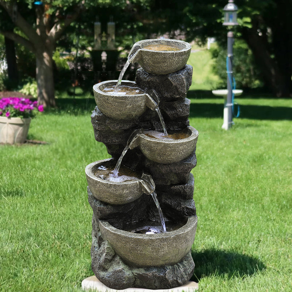 180075 Outdoor Water Fountain 32 H 5 Urns Falling Water Indoor Outd Topfountain