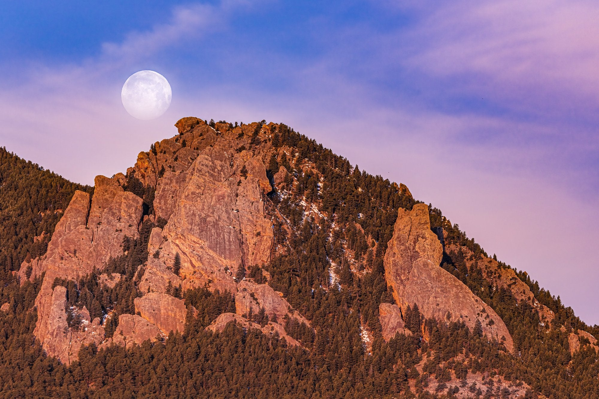 Moonset Over the Flatirons