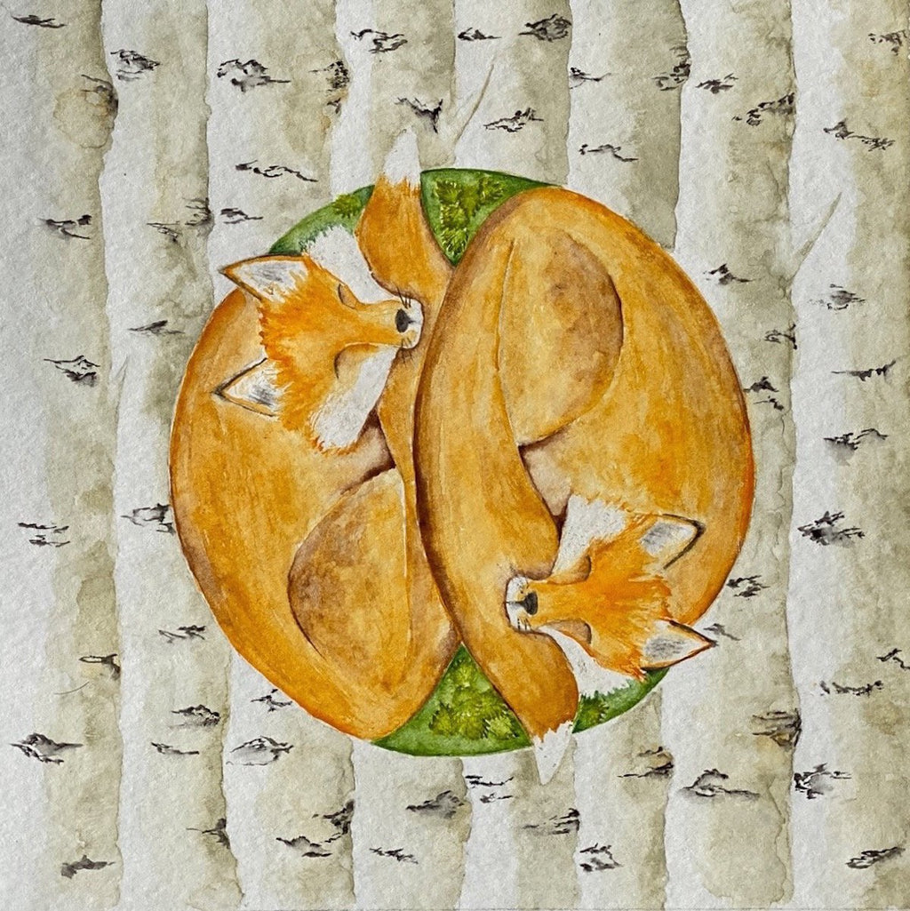 Yin Yang Fox Watercolor