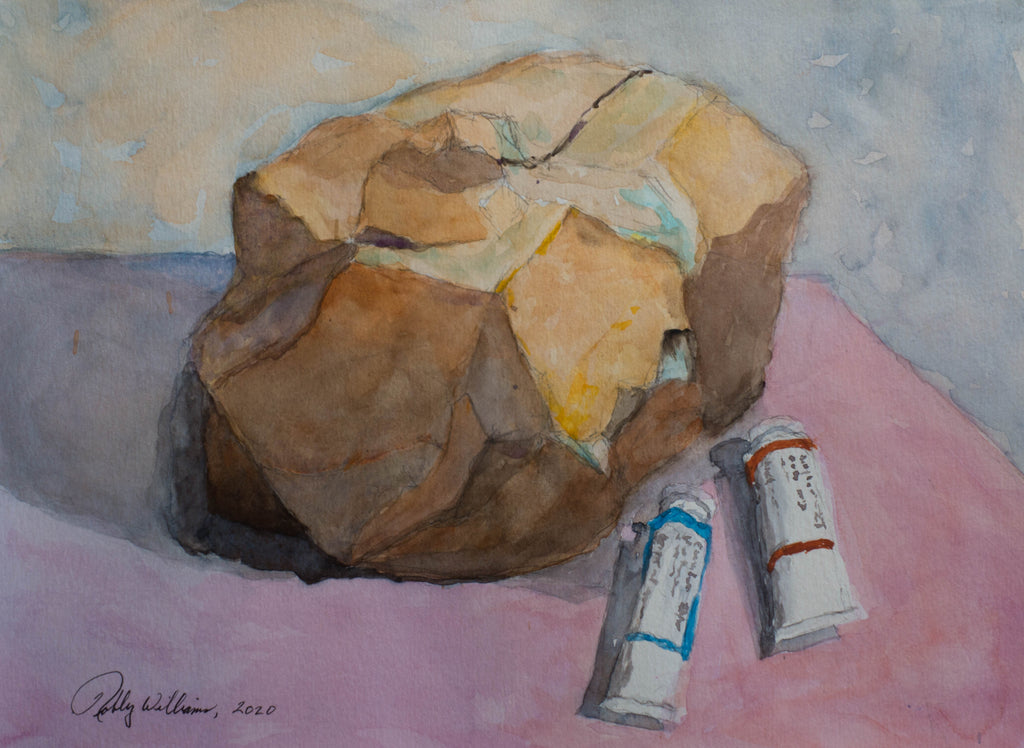 Still Life - rock and paint tubes