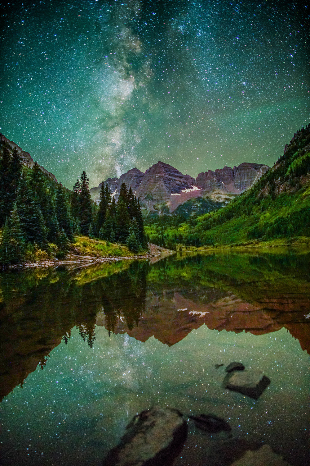 Milky Way Reflection Over Maroon Bells