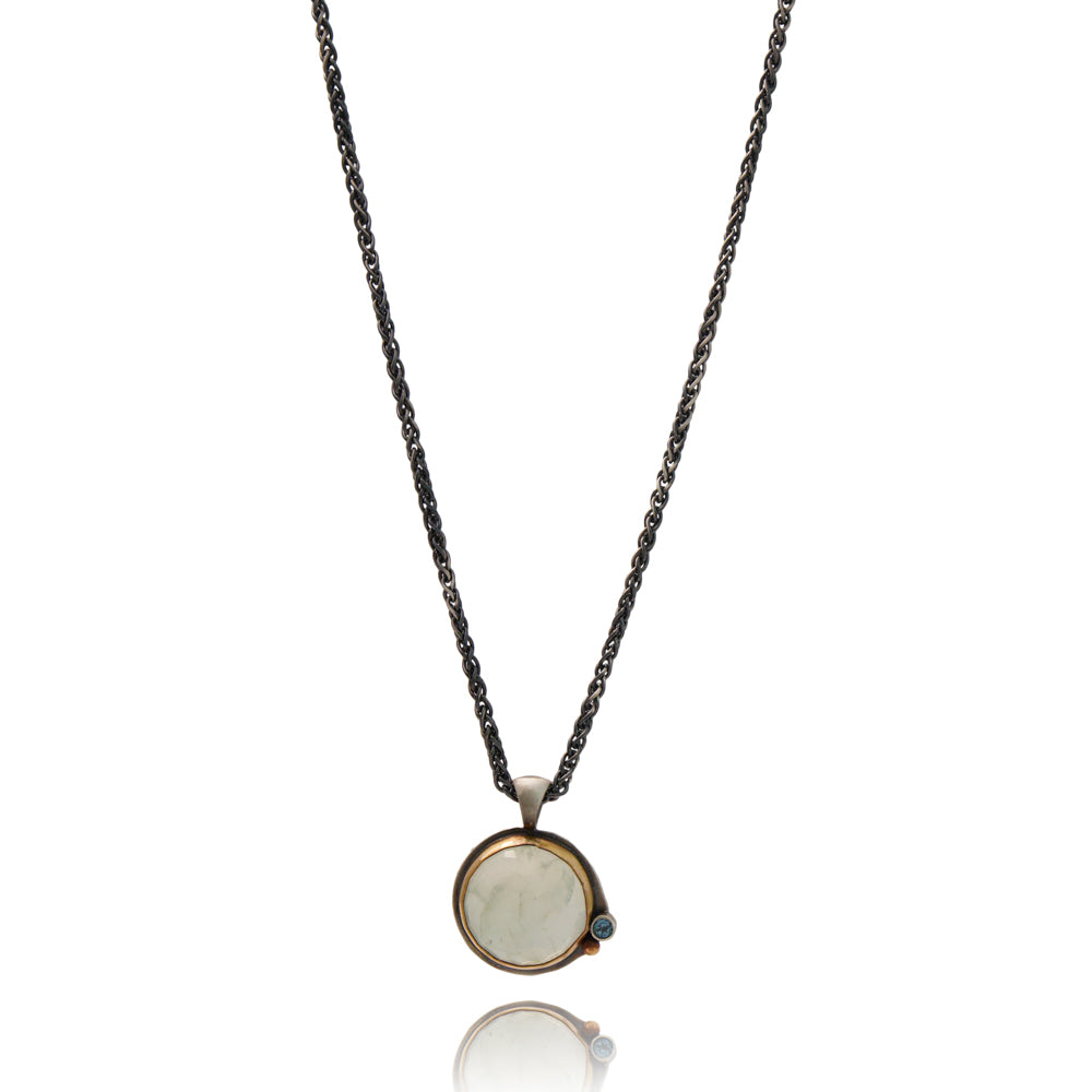 Prehnite Necklace with London Blue Topaz