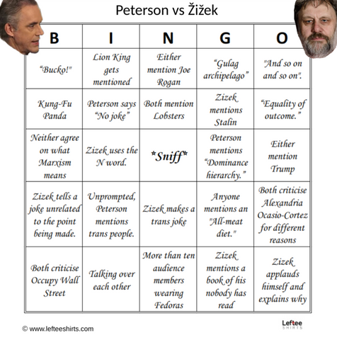 Jordan Peterson vs Slavoj Žižek: The Great Debate Drinking Game Bingo