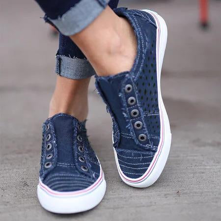 Women Slide Hollow Out Canvas Sneakers