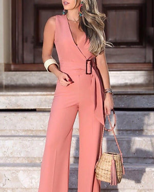 V-Neck Buckle Self-belt Wide Leg Jumpsuit