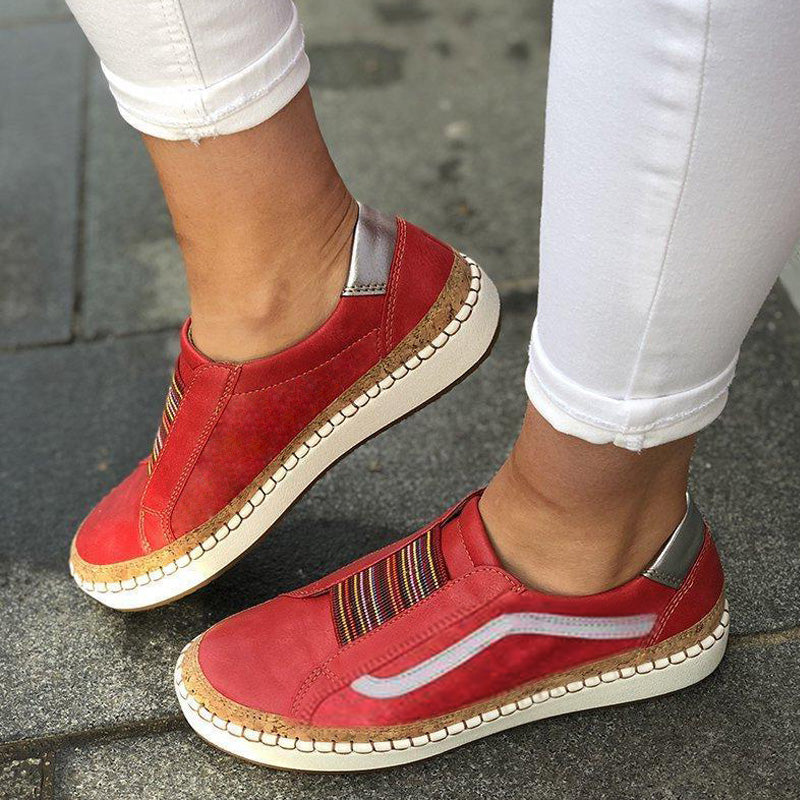 Slide Elastic Band Round Toe Casual Women Sneakers