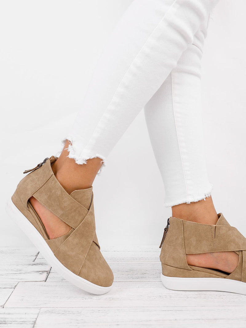 Criss-cross Cut-out Wedge Sneakers Plus