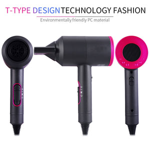 3-in-1 Hair Dryer, 2000W Professional Negative Ionic Blow Dryer, 3 Levels Hot Cold Wind Air Hairdryer, 3 Nozzles for Smoothing Curling Waving
