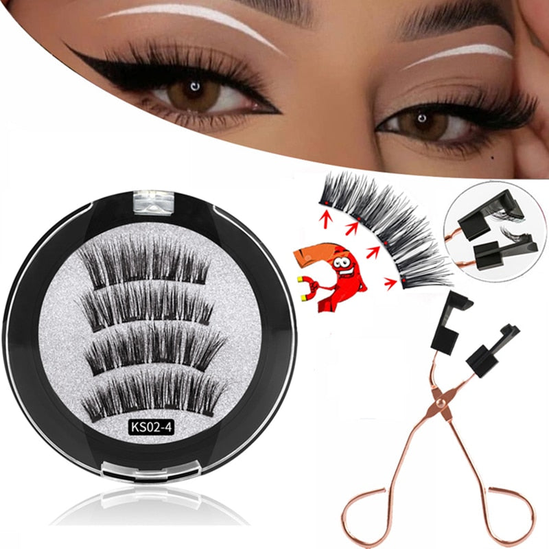 3D Magnetic Eyelashes with 3/4 Magnets Handmade Makeup Mink Eyelashes Extended False Eyelashes Reusable False Eyelashes