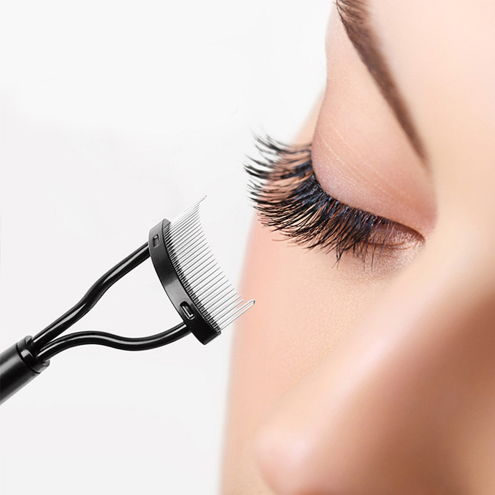 Eyelash Comb Curler Docolor Eyelashes Separator Curler Makeup Mascara Applicator Eyelash Definer with Comb Cover Cosmetic Tools