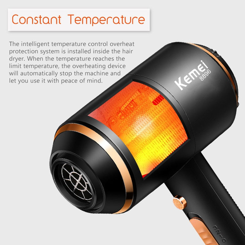 Kemei Ionic Hair Dryer 3 In 1 Strong Power 4000w Blow Dryer Electric 210-240v Professional Hairdressing Equipment
