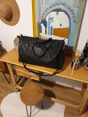 Lea&Jack Black Leather Travel Bag