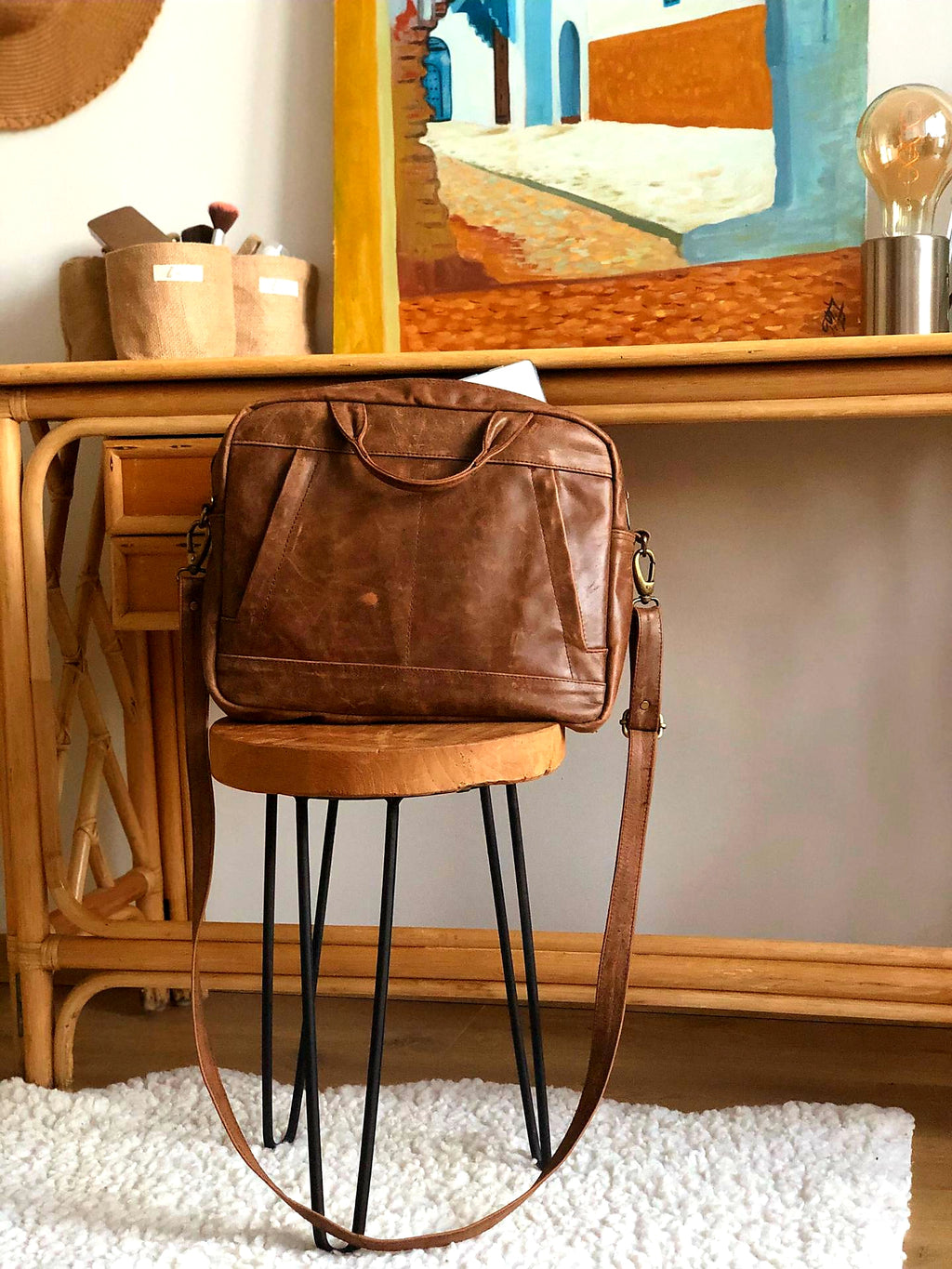 Lea&Jack vintage brown laptop bag surface pro