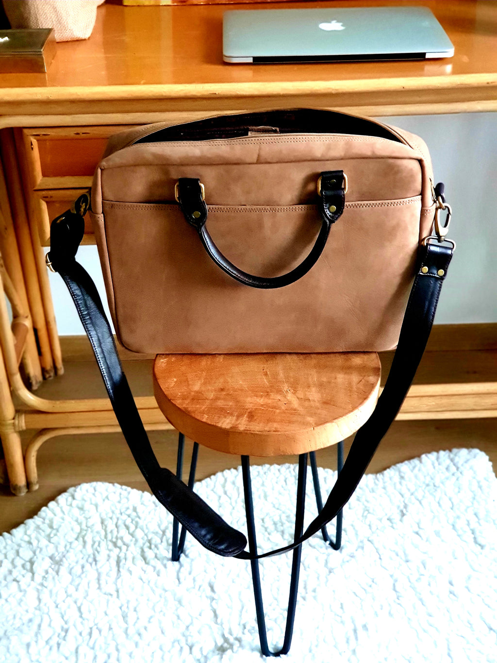 Suede Beige Laptop Bag