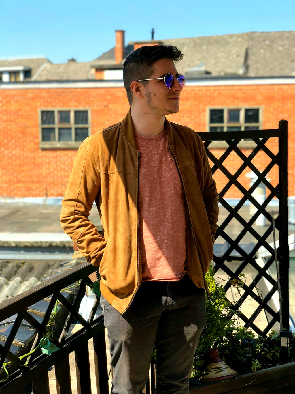 Light Brown Suede Bomber