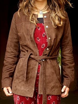 Dark Brown Suede Trench