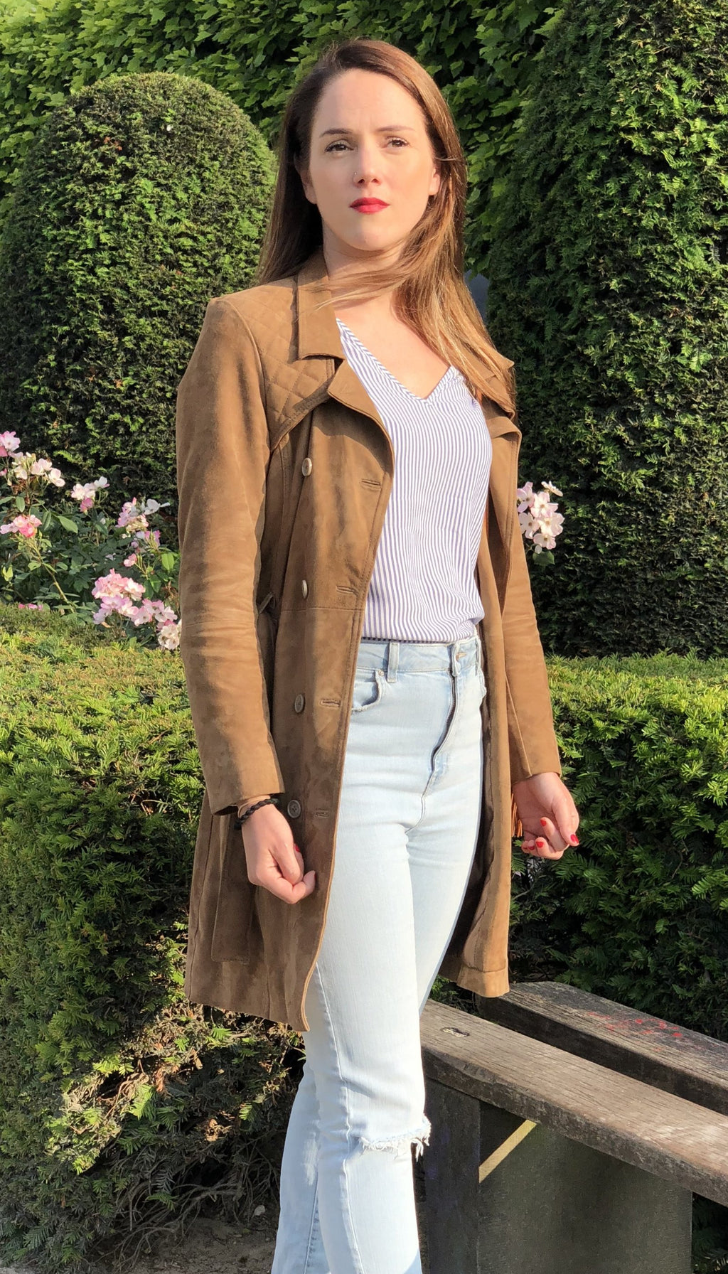 Woman Brown Suede Trench Coat