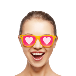 Girl with heart glasses