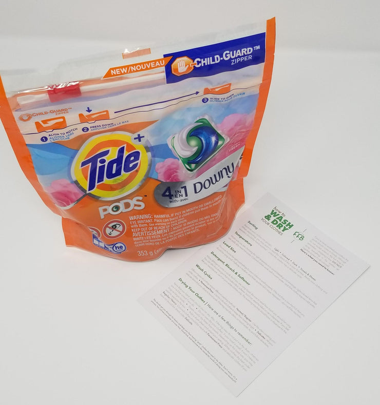 Tide Pods with wash and dry instructions