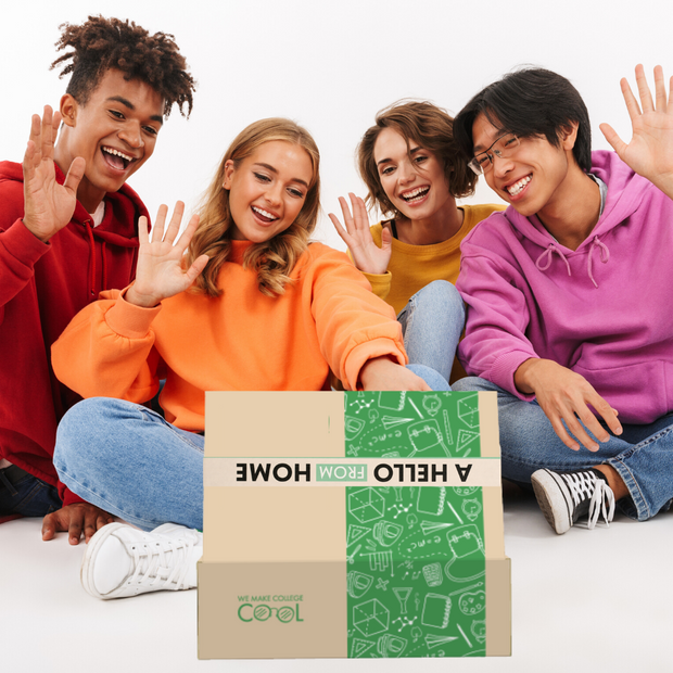 Students with green Freshman Fun Box™️