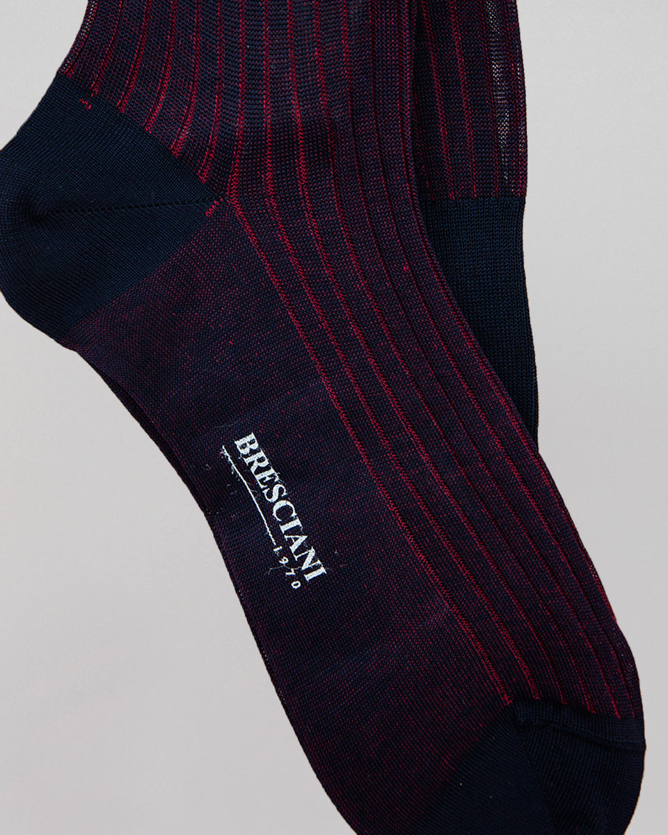 Knee-high Sock | Long Stripe | Granata & Blue