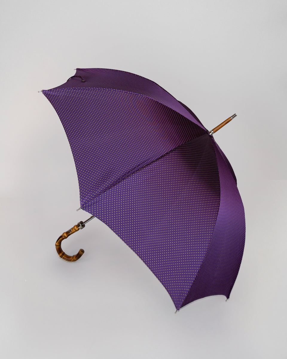 Bespoke Umbrella | Purple & Gold Dots | Whangee