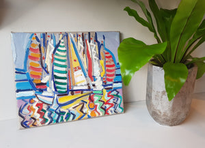 Original Painting Andrew Cranley titled Winter Series. It is a small colourful abstract painting of boats