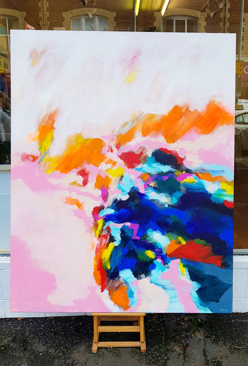 Original painting Esther O'Kelly Day Break. a large colourful abstract based off irish landscapes