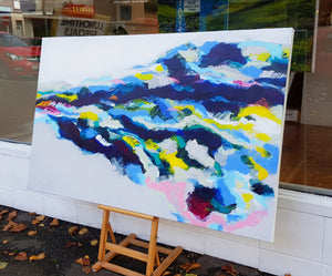 Original painting Esther O'Kelly Unmoored. a colourful abstract painting based off irish landscapes