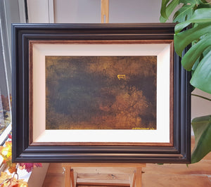 Original painting by Andrew Gault The Yard. oil on board with ornate frame