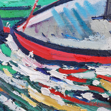 Load image into Gallery viewer, original oil painting by Andrew Cranley titled Stiff Breeze. it is an abstract colourful painting of a boat scene