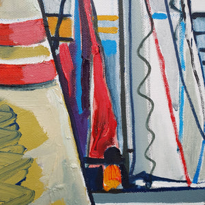 original oil by andrew cranely titled before the rain, an abstract colourful painting of boats