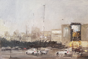 original oil on board of a view from the westlink in Belfast by Mark Bonello