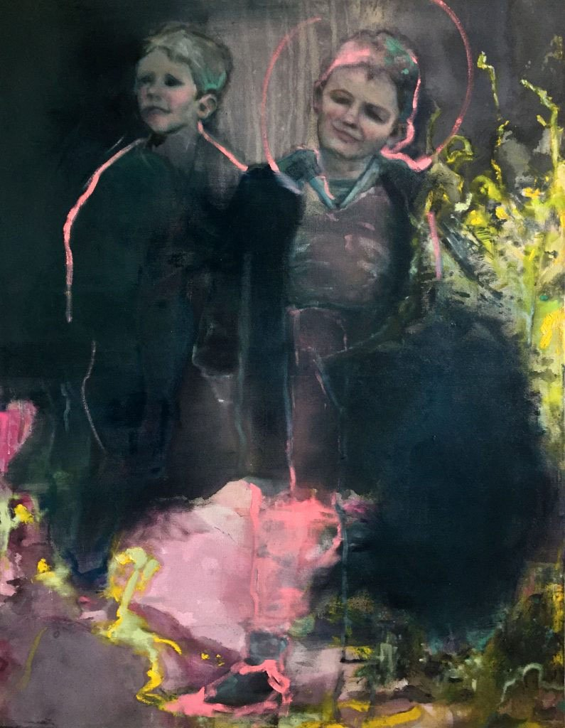 original painting on canvas by Alana Barton titled Boys In Black