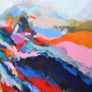 Esther O'kelly original on canvas Cold Mountain. a colourful abstract irish landscape.