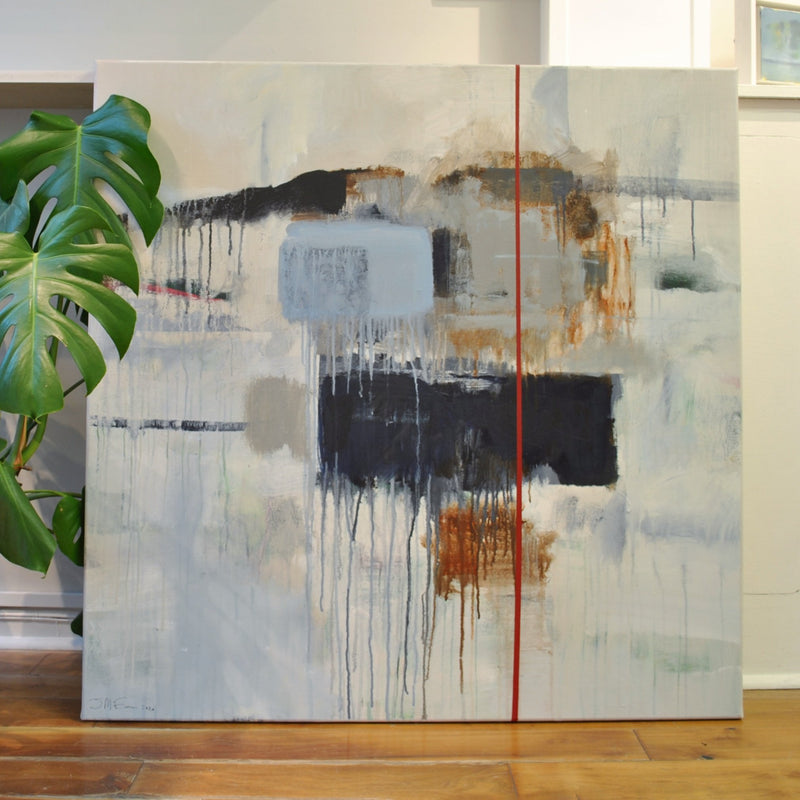 Jonny McEwen original contemporary painting on canvas untitled abstract in gallery