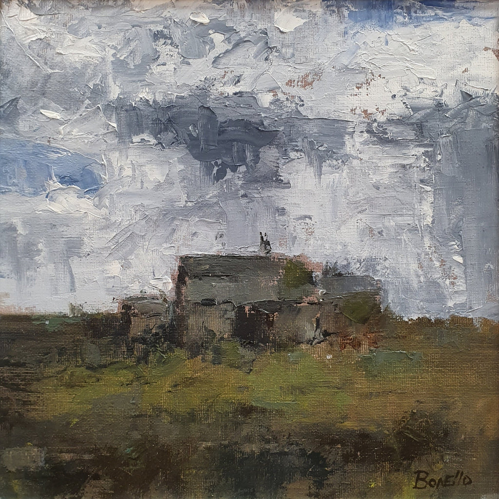 Mark Bonello original on board Old Bothy. An oil on board painting of a cottage in the country side