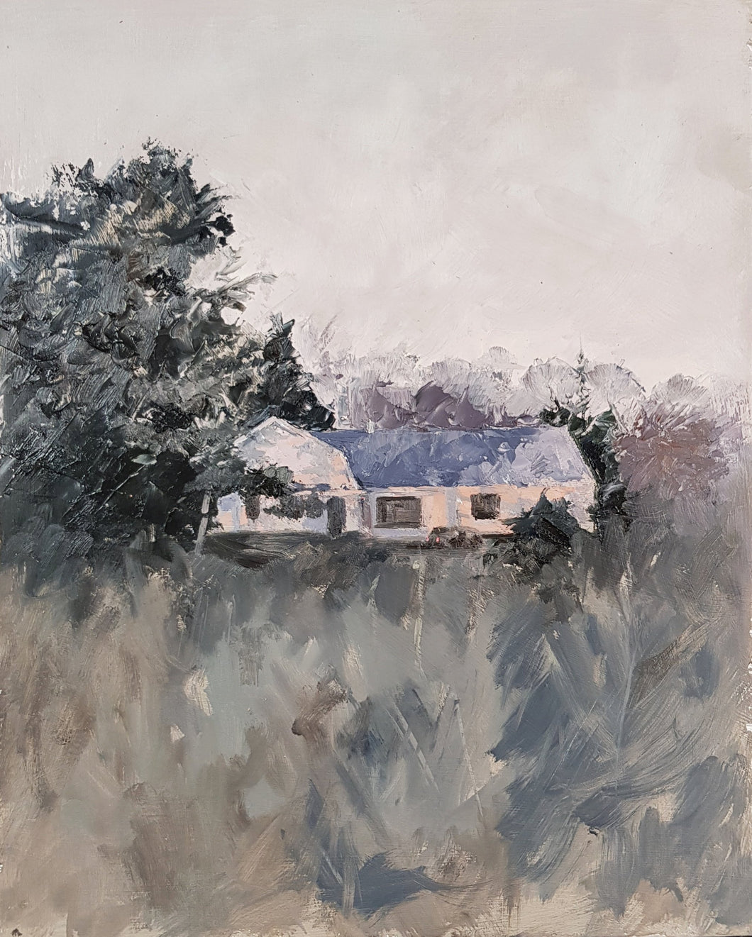 Mark Bonello original oil on board Cottage From Junction 10