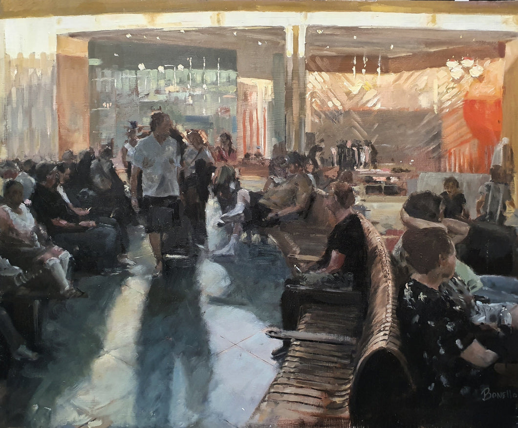 Mark Bonelo original oil on board Departure. An interior scene of a departure lounge in an airport