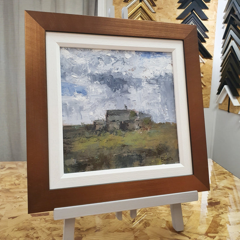 Mark Bonello original on board Old Bothy. An oil on board painting of a cottage in the country side.