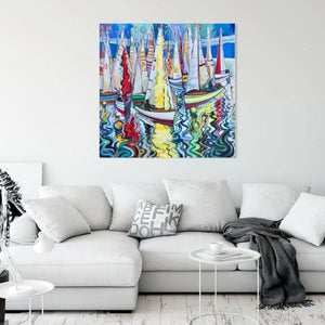 original oil on canvas painting by Andrew Cranley, titled Calm two it is a colourful painting of a boat scene